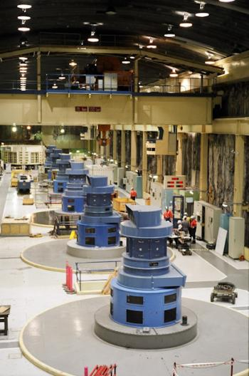 Machine hall in the Manapouri Underground Power Station.